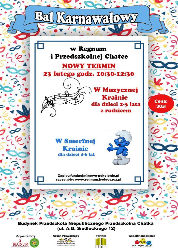 Bal karnawałowy w DEK Regnum - plakat